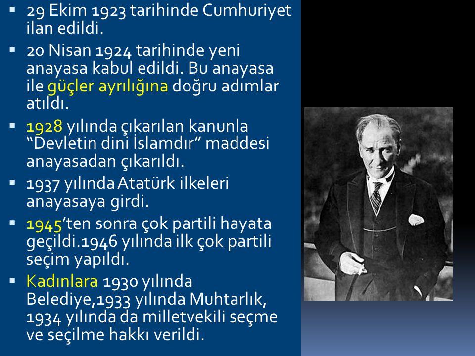 29 Ekim 1923 tarihinde Cumhuriyet ilan edildi.