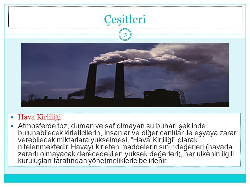 Çeşitleri Hava Kirliliği