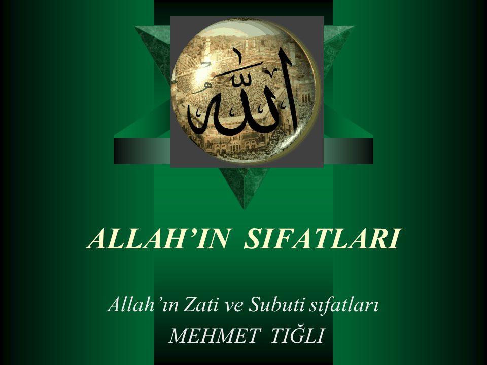 Allah'ın Zati ve Subuti sıfatları MEHMET TIĞLI