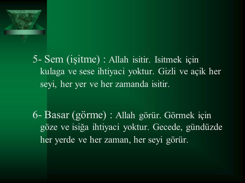 5- Sem (işitme) : Allah isitir
