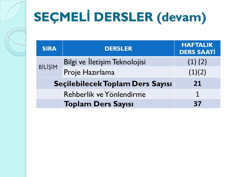 SEÇMELİ DERSLER (devam)