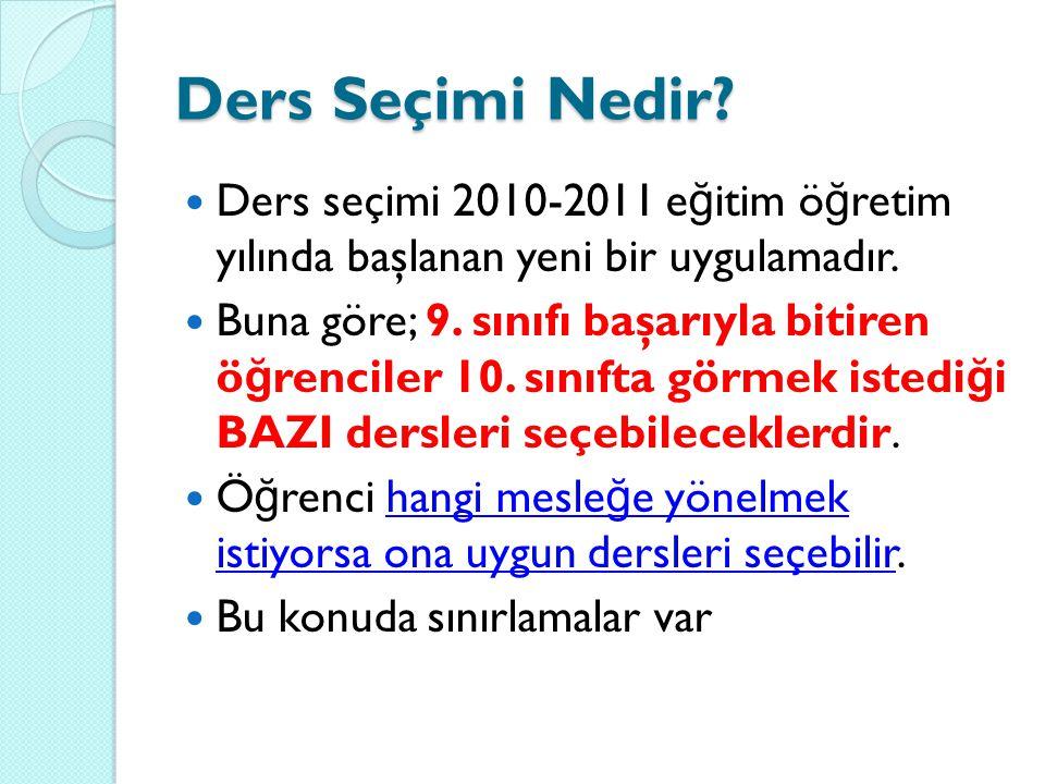 Ders Seçimi Nedir Ders seçimi 2010-2011 eğitim öğretim yılında başlanan yeni bir uygulamadır.