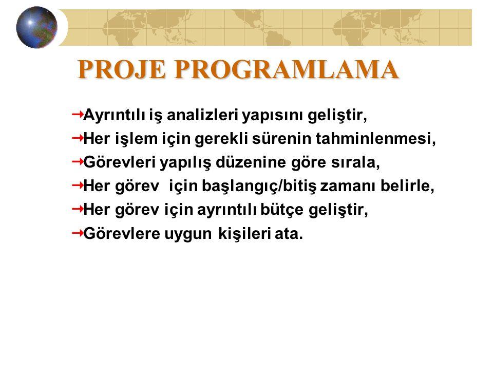 PROJE PROGRAMLAMA Ayrıntılı iş analizleri yapısını geliştir,