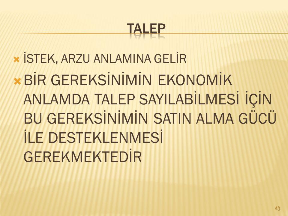 TALEP İSTEK, ARZU ANLAMINA GELİR.