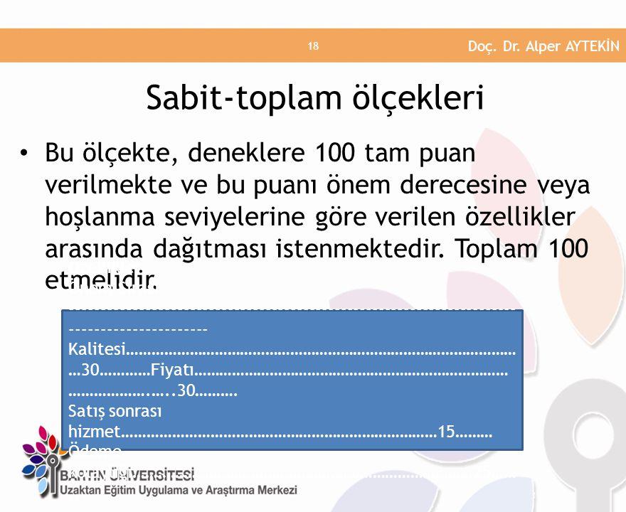 Sabit-toplam ölçekleri