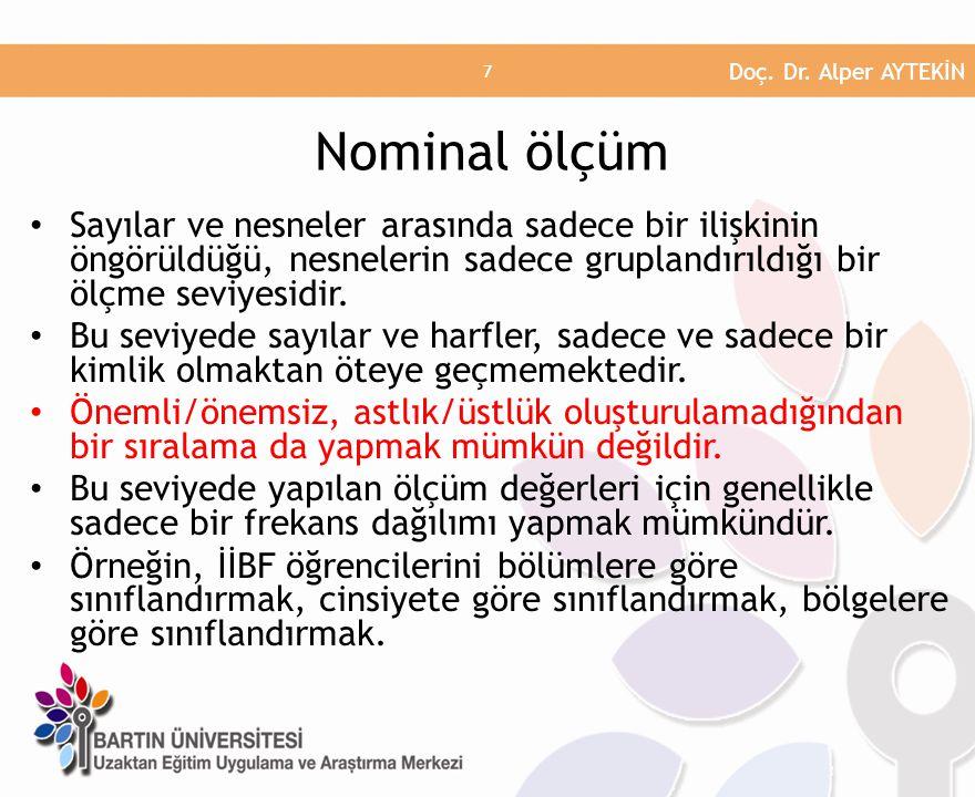 Doç. Dr. Alper AYTEKİN Nominal ölçüm.