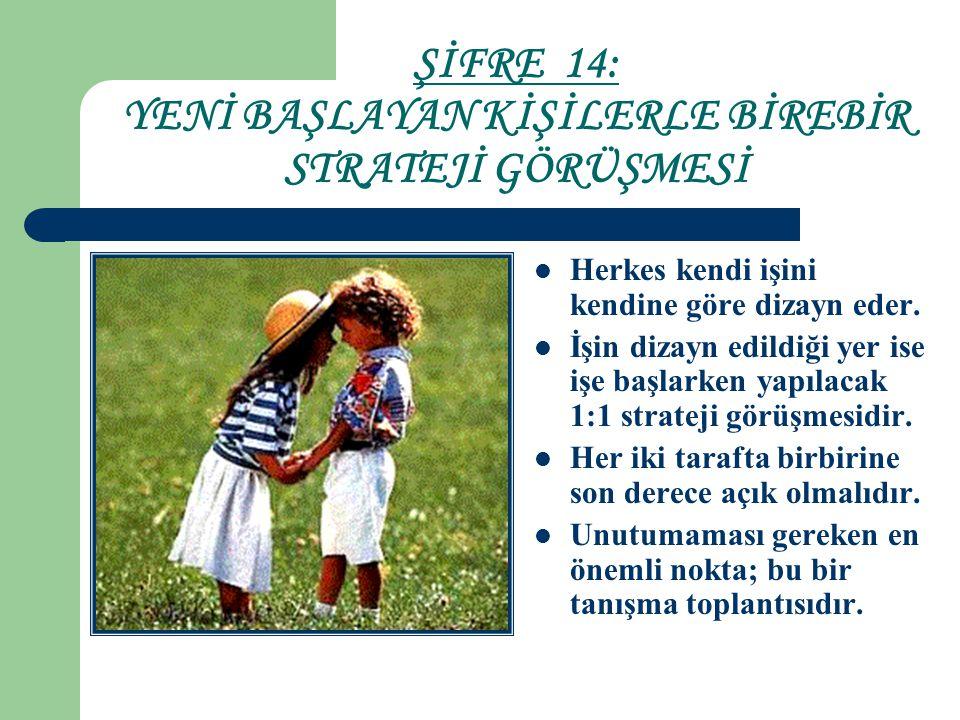 ŞİFRE 14: YENİ BAŞLAYAN KİŞİLERLE BİREBİR STRATEJİ GÖRÜŞMESİ