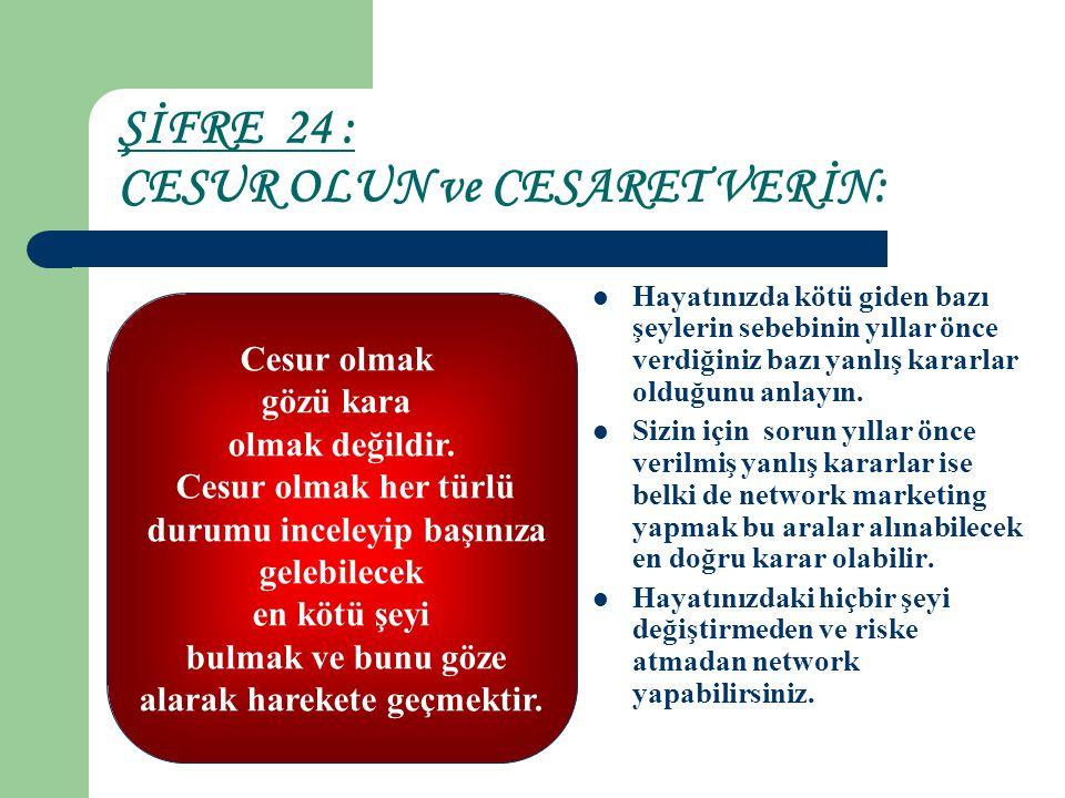 ŞİFRE 24 : CESUR OLUN ve CESARET VERİN: