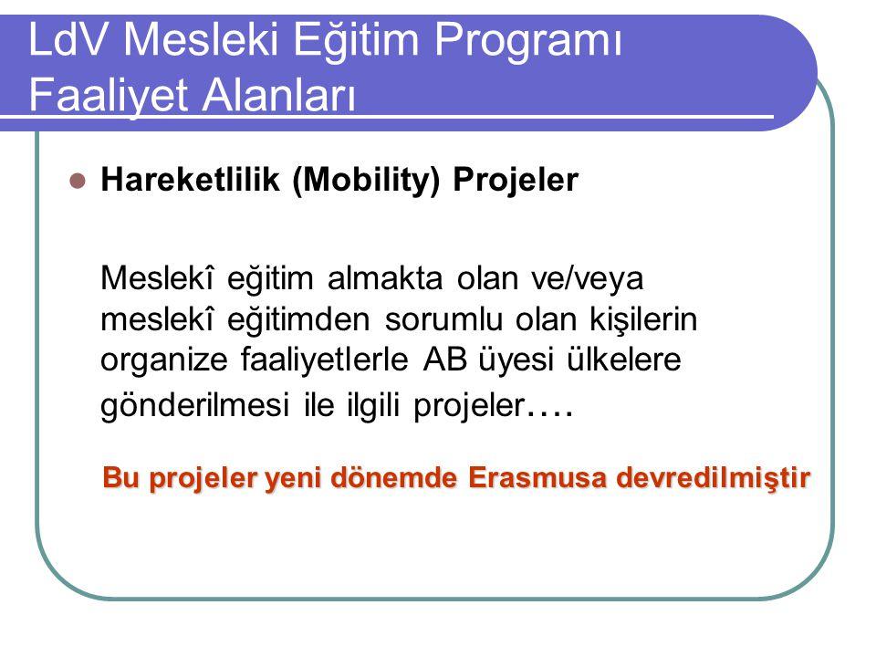 LdV Mesleki Eğitim Programı Faaliyet Alanları
