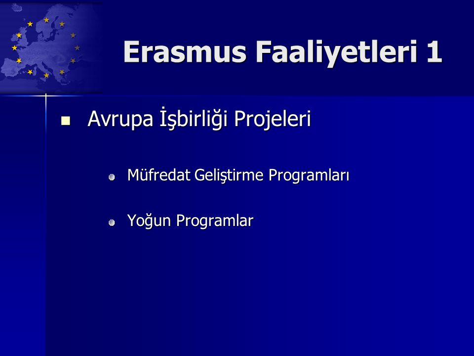 Erasmus Faaliyetleri 1 Avrupa İşbirliği Projeleri