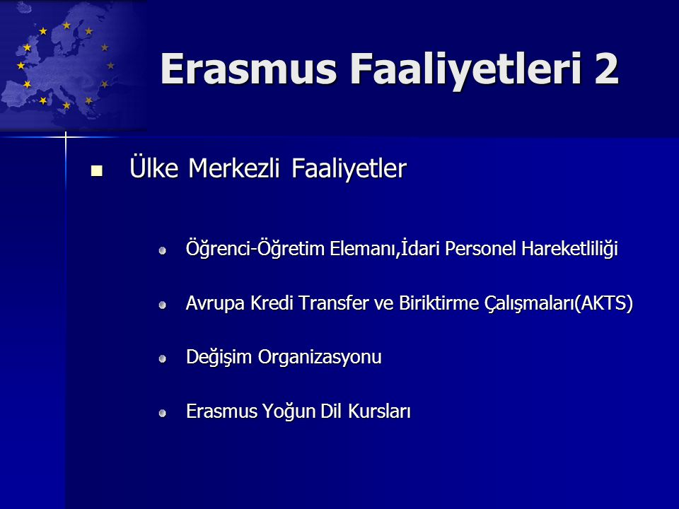 Erasmus Faaliyetleri 2 Ülke Merkezli Faaliyetler