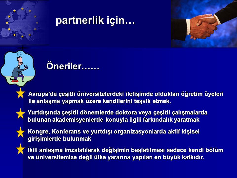 partnerlik için… Öneriler……