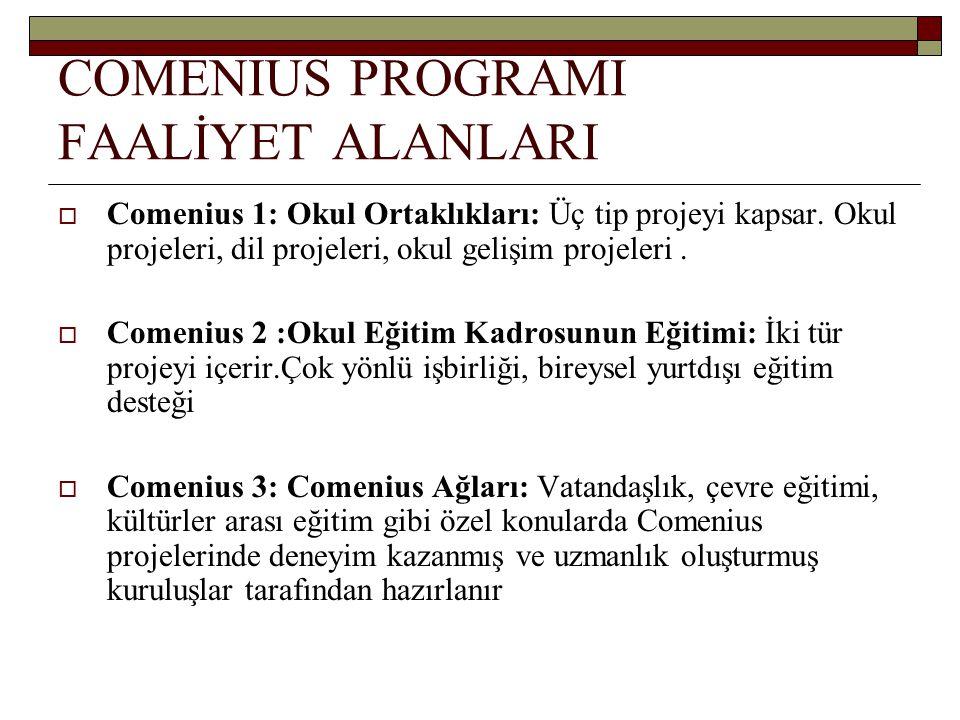 COMENIUS PROGRAMI FAALİYET ALANLARI