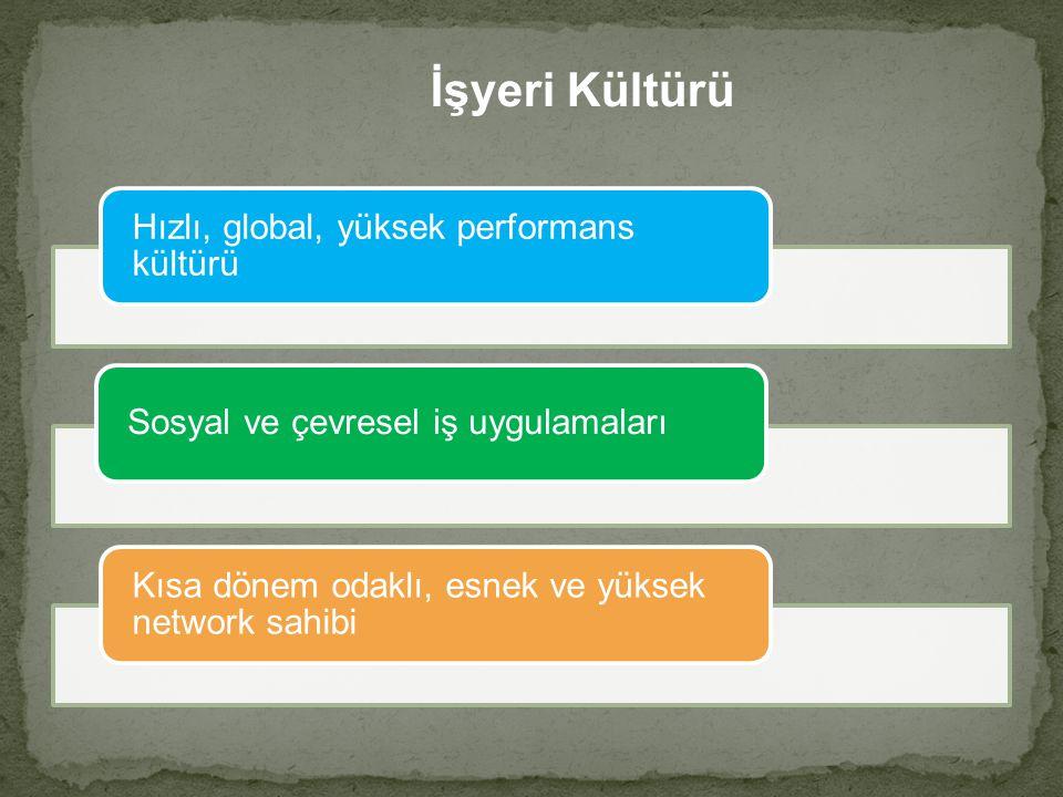 İşyeri Kültürü Hızlı, global, yüksek performans kültürü