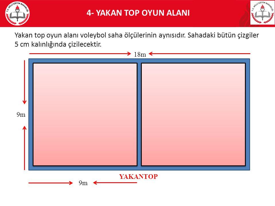 4- YAKAN TOP OYUN ALANI Yakan top oyun alanı voleybol saha ölçülerinin aynısıdır. Sahadaki bütün çizgiler 5 cm kalınlığında çizilecektir.