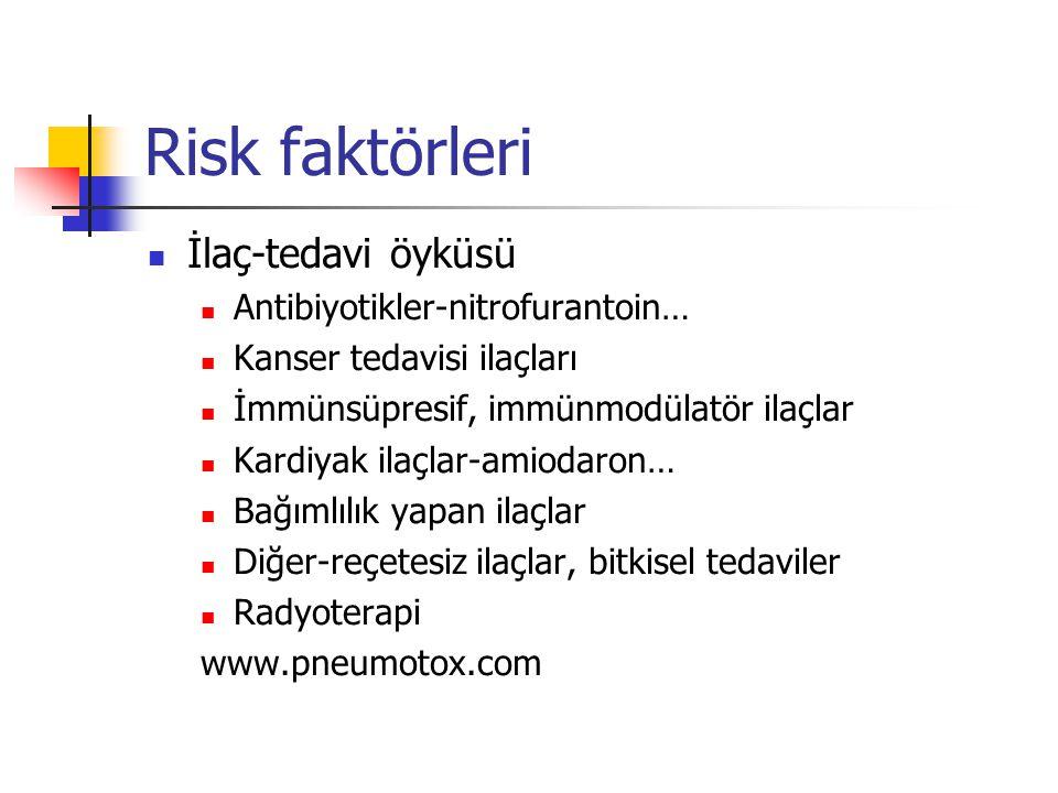 Risk faktörleri İlaç-tedavi öyküsü Antibiyotikler-nitrofurantoin…