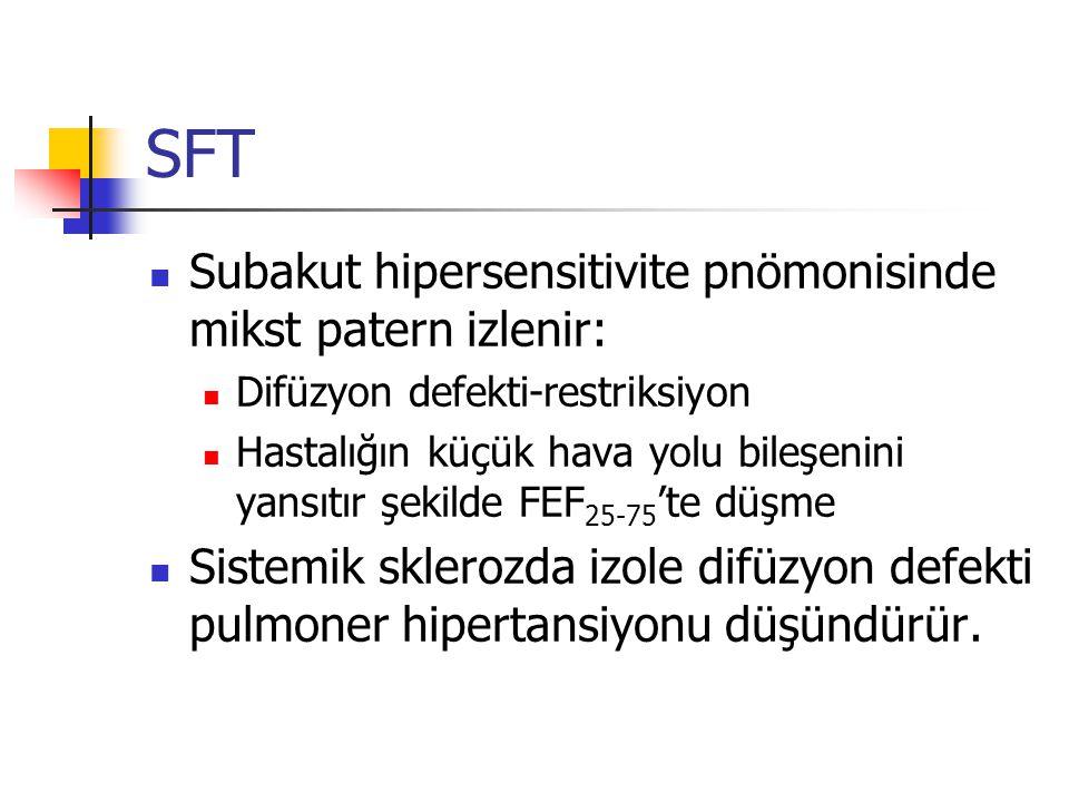 SFT Subakut hipersensitivite pnömonisinde mikst patern izlenir: