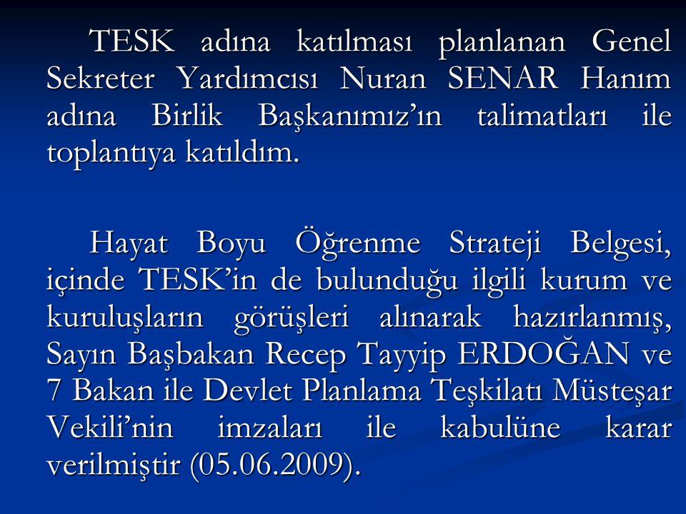 TESK adına katılması planlanan Genel Sekreter Yardımcısı Nuran SENAR Hanım adına Birlik Başkanımız'ın talimatları ile toplantıya katıldım.