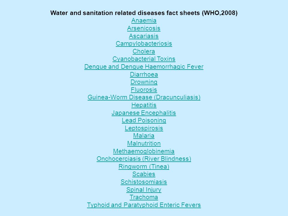 Water and sanitation related diseases fact sheets (WHO,2008)