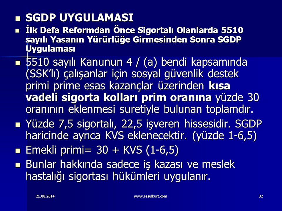 SGDP UYGULAMASI İlk Defa Reformdan Önce Sigortalı Olanlarda 5510 sayılı Yasanın Yürürlüğe Girmesinden Sonra SGDP Uygulaması.