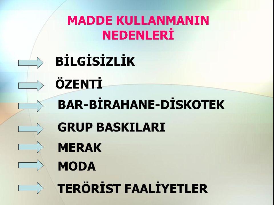 MADDE KULLANMANIN NEDENLERİ