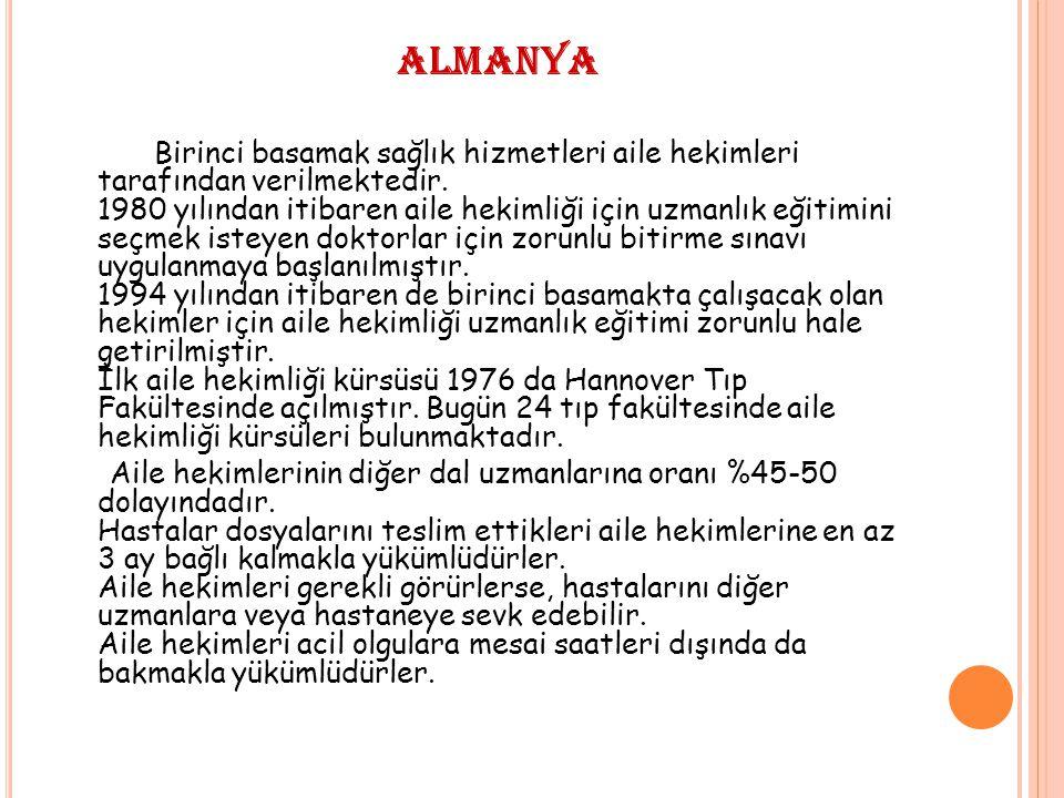 ALMANYA Birinci basamak sağlık hizmetleri aile hekimleri tarafından verilmektedir.