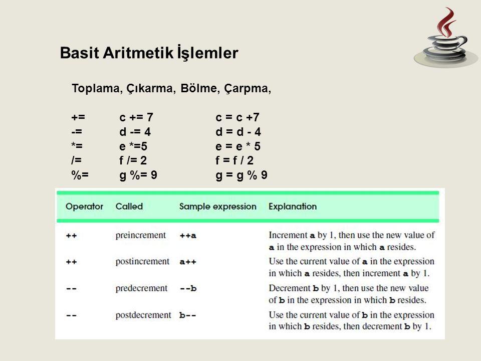 Basit Aritmetik İşlemler