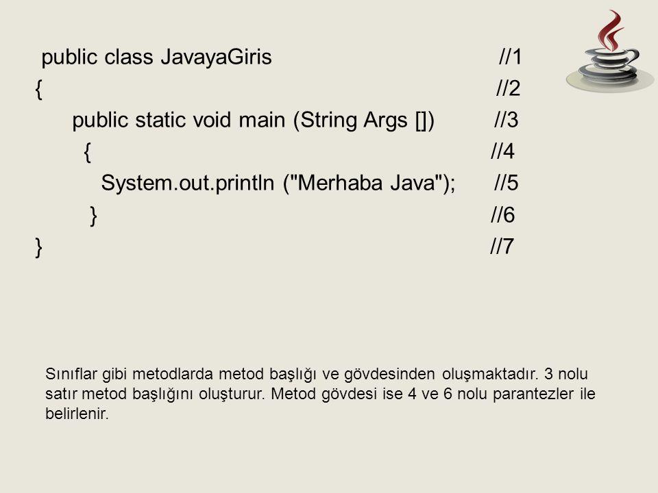 public class JavayaGiris //1 { //2