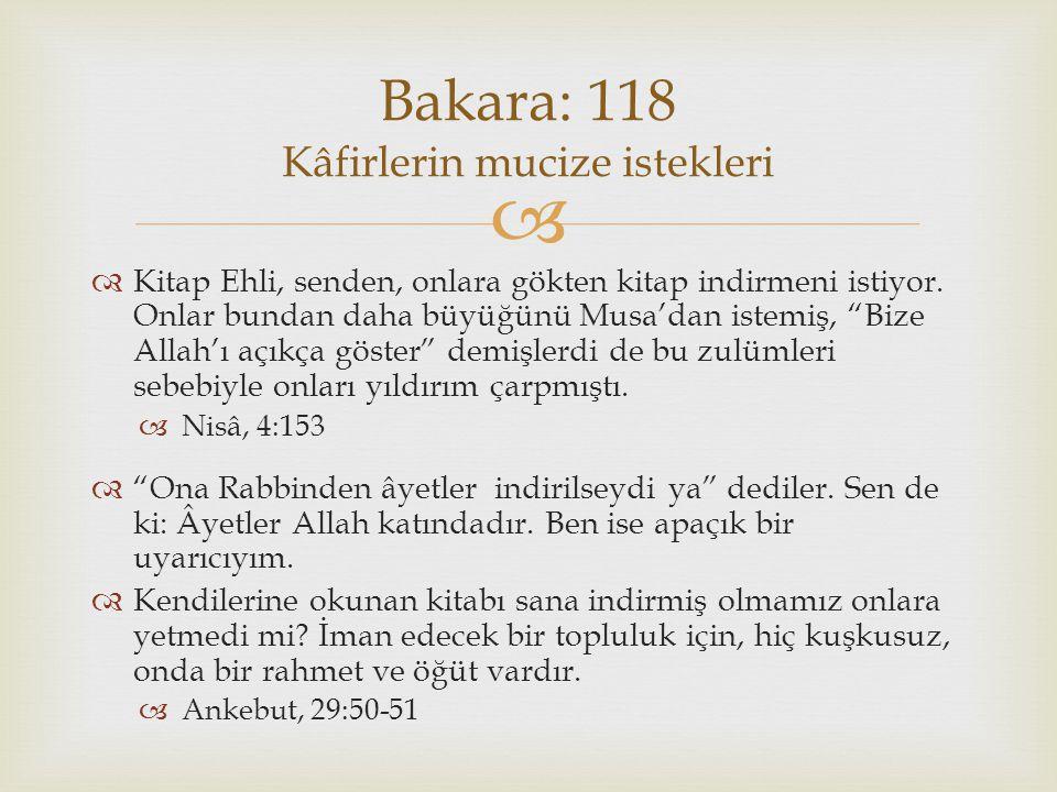 Bakara: 118 Kâfirlerin mucize istekleri