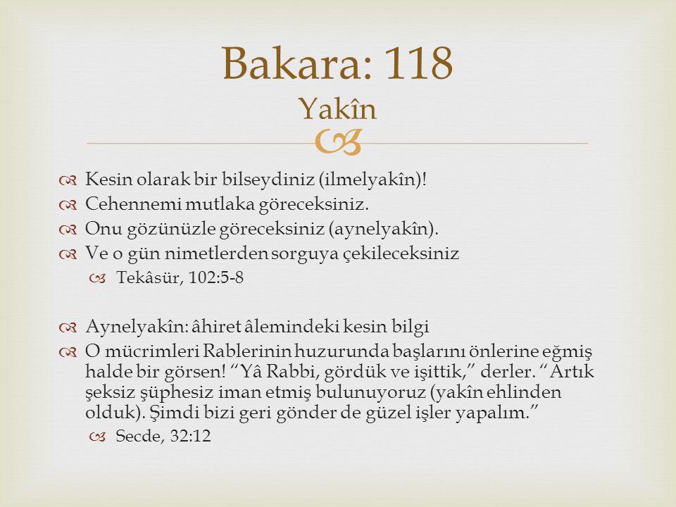 Bakara: 118 Yakîn Kesin olarak bir bilseydiniz (ilmelyakîn)!