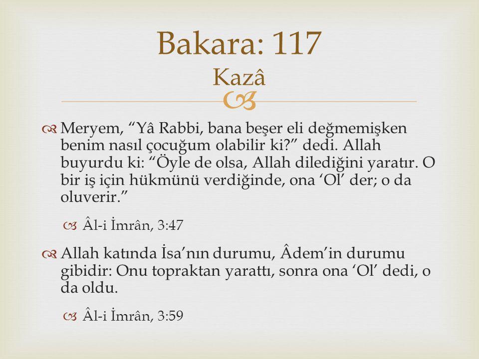 Bakara: 117 Kazâ