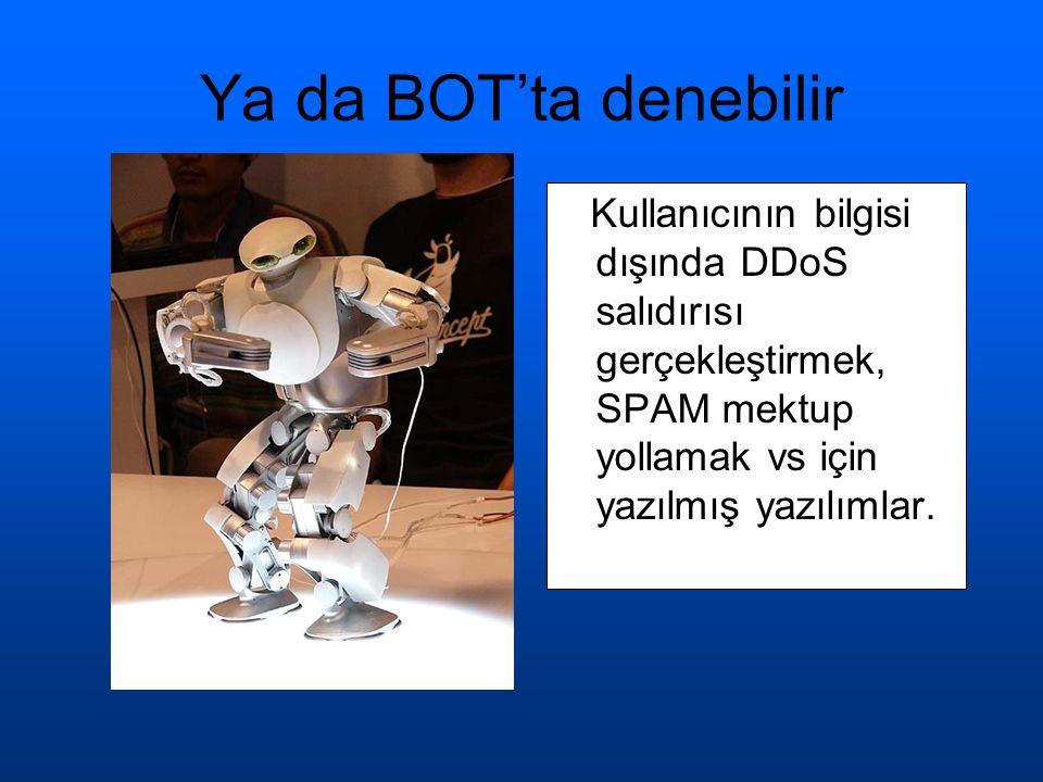 Ya da BOT'ta denebilir Kullanıcının bilgisi dışında DDoS salıdırısı gerçekleştirmek, SPAM mektup yollamak vs için yazılmış yazılımlar.