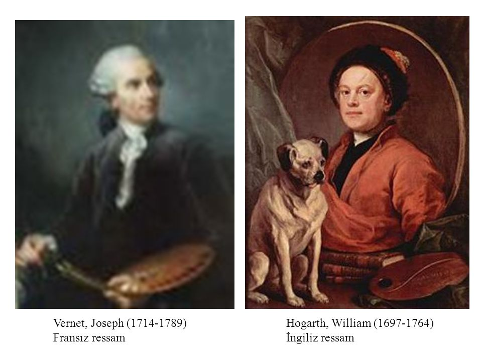 Vernet, Joseph ( ) Fransız ressam Hogarth, William ( ) İngiliz ressam