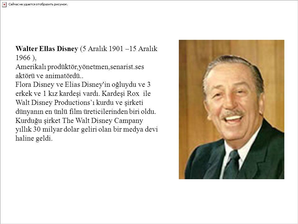 Walter Ellas Disney (5 Aralık 1901 –15 Aralık 1966 ), Amerikalı prodüktör,yönetmen,senarist.ses aktörü ve animatördü..
