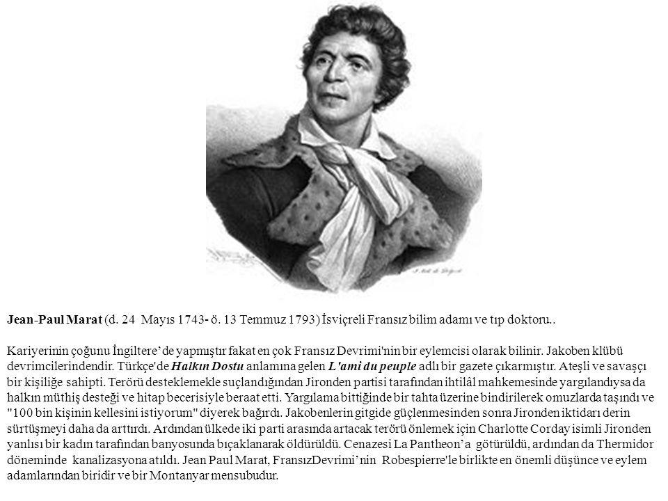 Jean-Paul Marat (d. 24 Mayıs 1743- ö