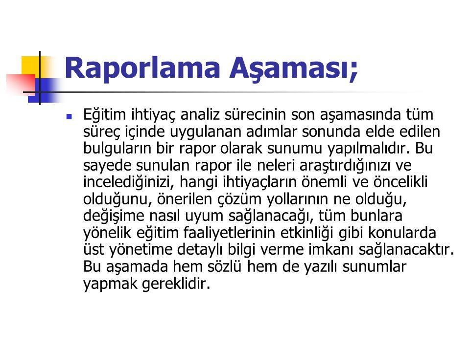 Raporlama Aşaması;
