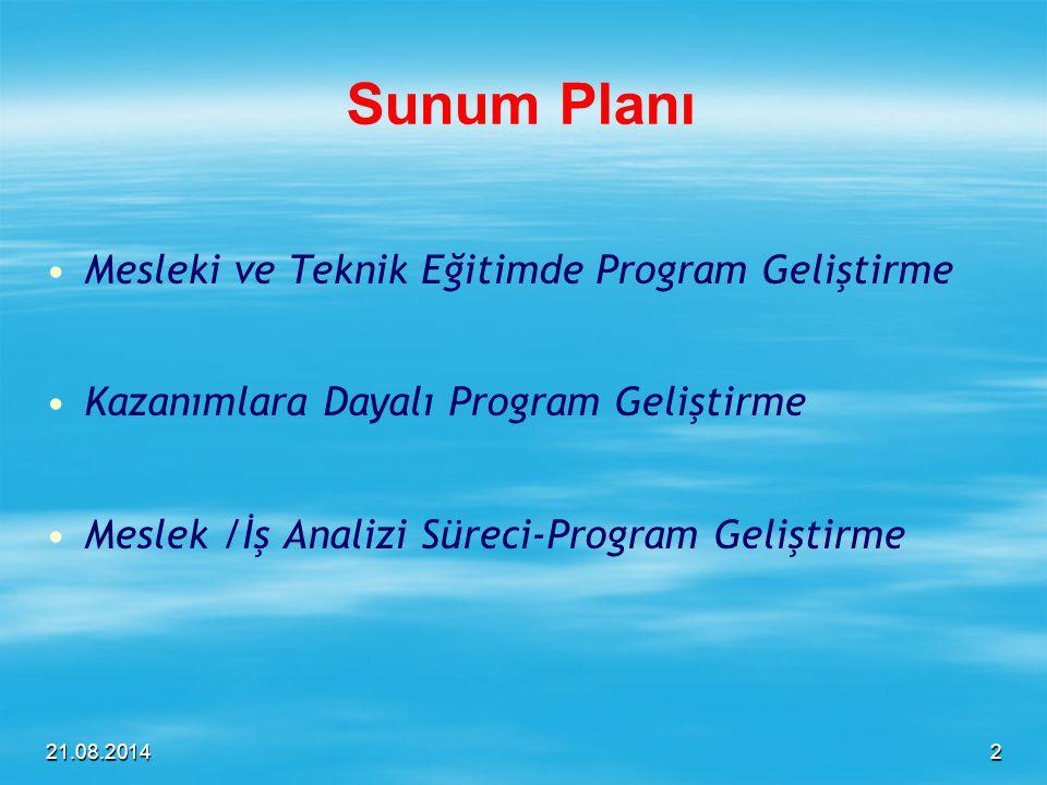 Sunum Planı Mesleki ve Teknik Eğitimde Program Geliştirme
