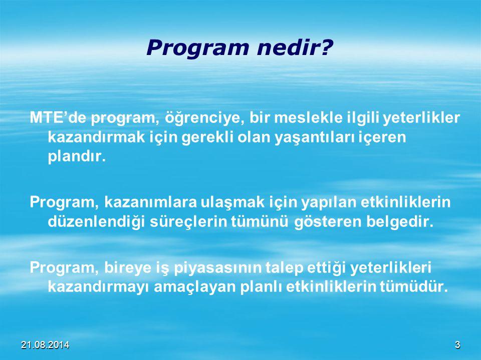Program nedir MTE'de program, öğrenciye, bir meslekle ilgili yeterlikler kazandırmak için gerekli olan yaşantıları içeren plandır.