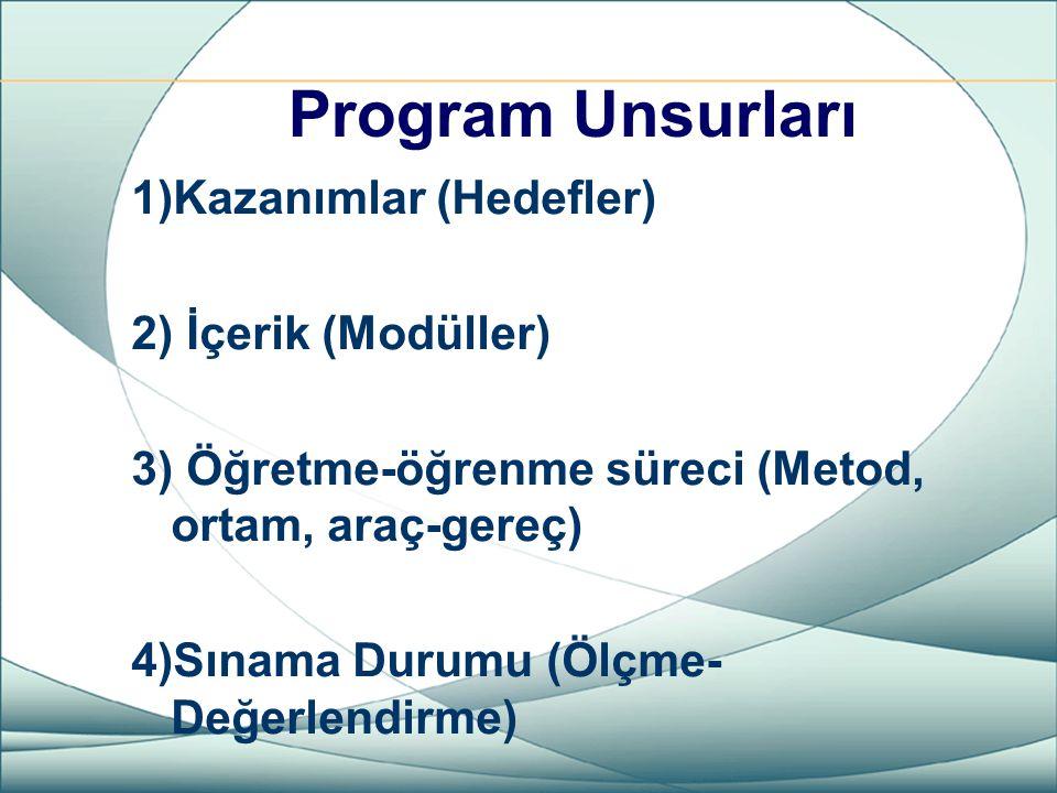 Program Unsurları 1)Kazanımlar (Hedefler) 2) İçerik (Modüller)