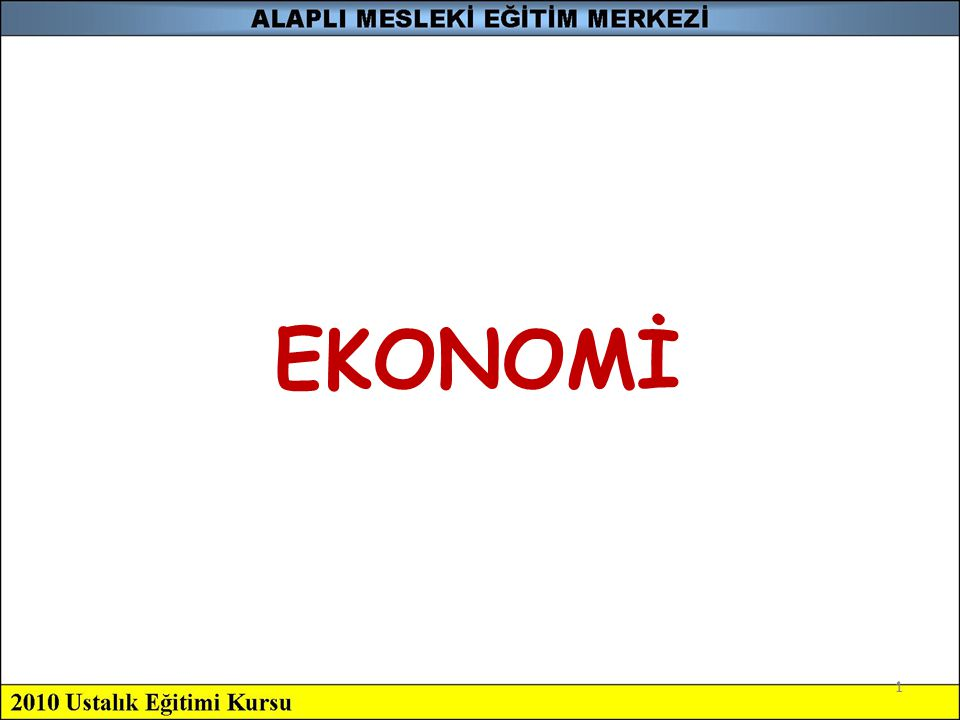 EKONOMİ 1 1