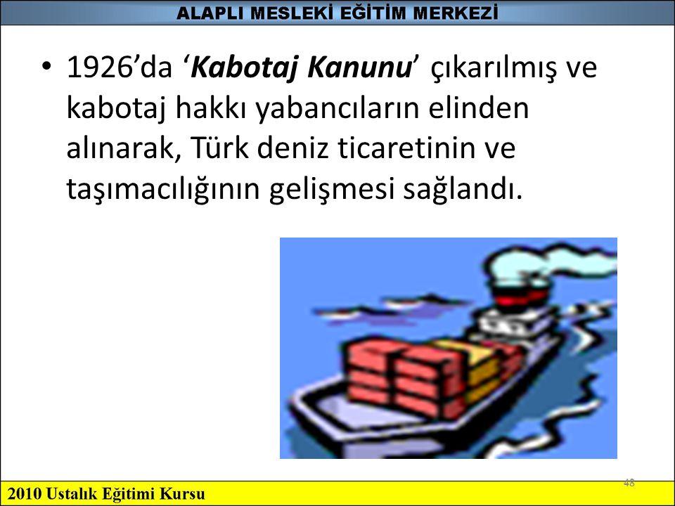 1926'da 'Kabotaj Kanunu' çıkarılmış ve kabotaj hakkı yabancıların elinden alınarak, Türk deniz ticaretinin ve taşımacılığının gelişmesi sağlandı.