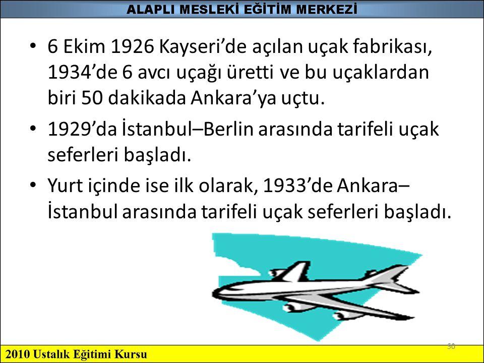 1929'da İstanbul–Berlin arasında tarifeli uçak seferleri başladı.