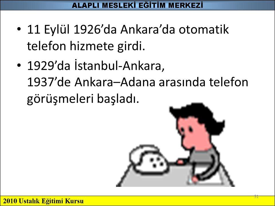 11 Eylül 1926'da Ankara'da otomatik telefon hizmete girdi.