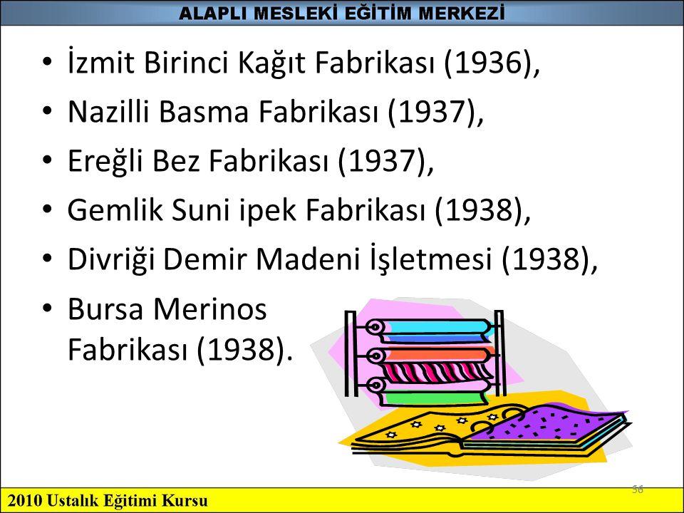 İzmit Birinci Kağıt Fabrikası (1936), Nazilli Basma Fabrikası (1937),