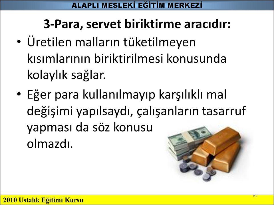 3-Para, servet biriktirme aracıdır: