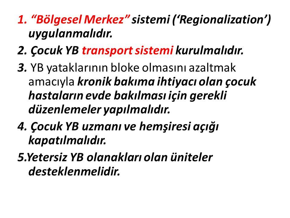 1. Bölgesel Merkez sistemi ('Regionalization') uygulanmalıdır.