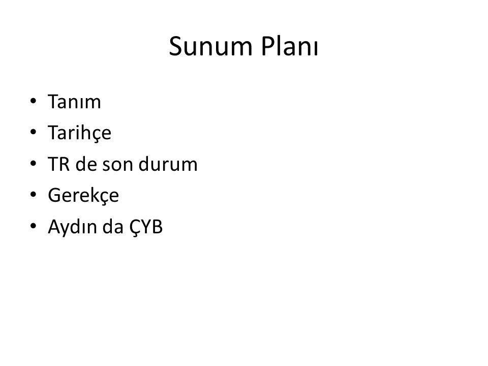 Sunum Planı Tanım Tarihçe TR de son durum Gerekçe Aydın da ÇYB