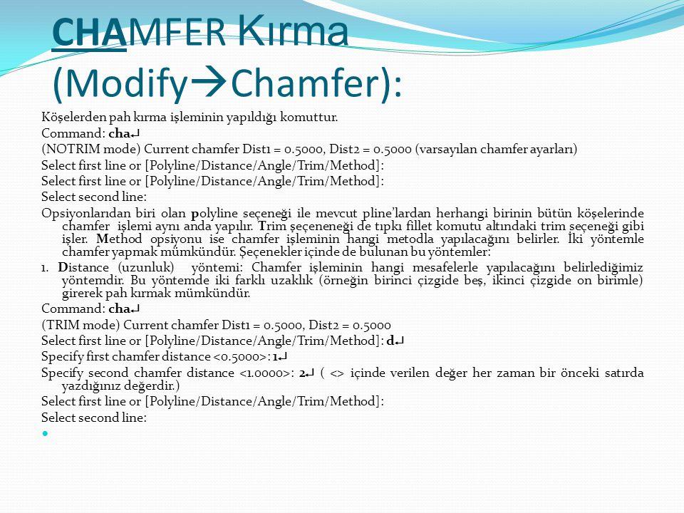 CHAMFER Kırma (ModifyChamfer):
