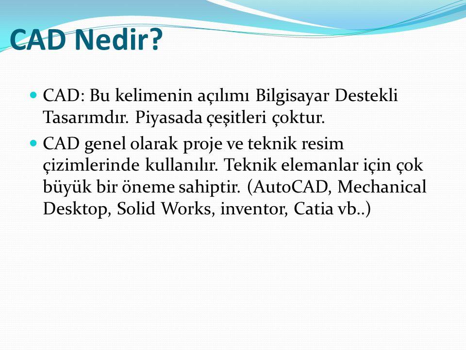 CAD Nedir CAD: Bu kelimenin açılımı Bilgisayar Destekli Tasarımdır. Piyasada çeşitleri çoktur.