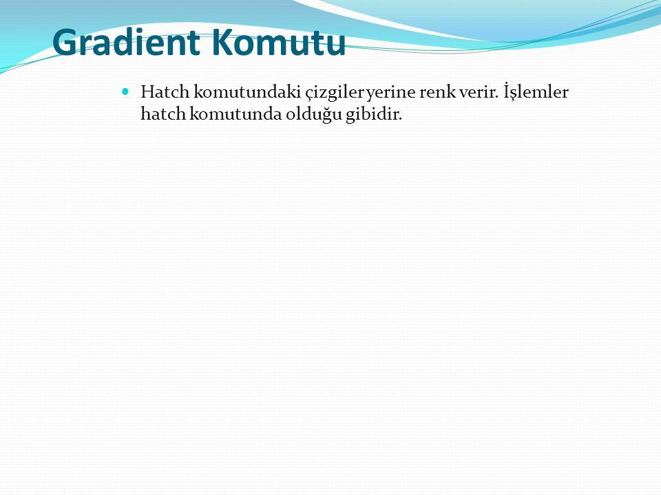 Gradient Komutu Hatch komutundaki çizgiler yerine renk verir.